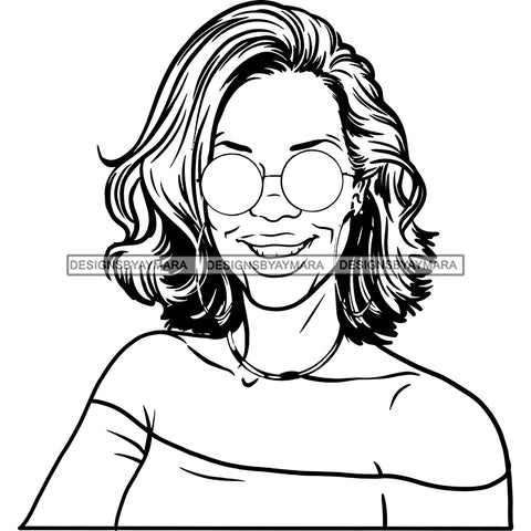 Copy of Afro Sexy Woman Mature Portrait Nubian Classy Flawless Sunglasses Wavy Hairstyle B/W SVG JPG PNG Designs Cricut Silhouette Cut Cuttings