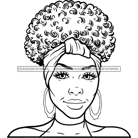 Afro Woman Mature Portrait Nubian Classy Flawless Headwrap Puffy Up Do Hairstyle B/W SVG JPG PNG Designs Cricut Silhouette Cut Cuttings