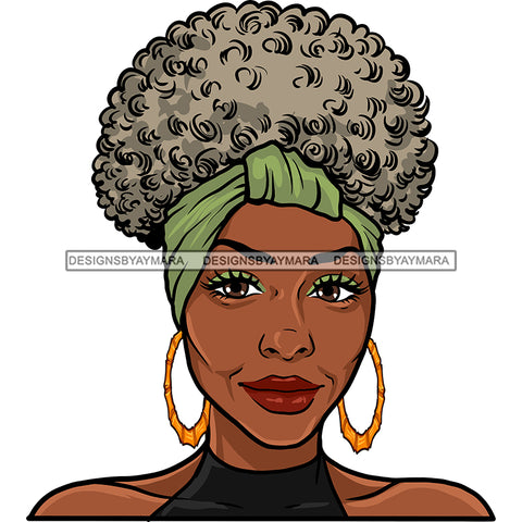 Afro Woman Mature Portrait Nubian Classy Flawless Headwrap Grey Puffy Up Do Hairstyle SVG JPG PNG Designs Cricut Silhouette Cut Cuttings