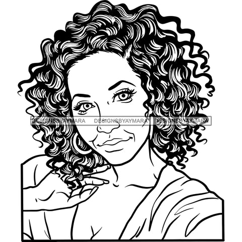 Afro Woman Mature Portrait Nubian Classy Flawless Black Girl Magic Curly Hairstyle B/W SVG JPG PNG Designs Cricut Silhouette Cut Cuttings