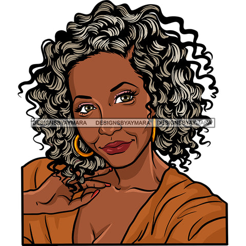 Afro Woman Mature Portrait Nubian Classy Flawless Black Girl Magic Grey Curly Hairstyle SVG JPG PNG Designs Cricut Silhouette Cut Cuttings