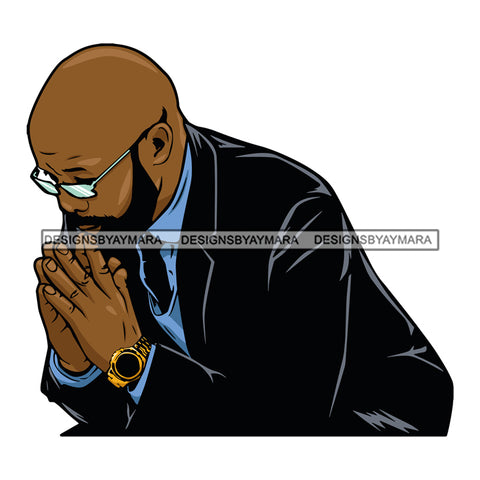Black Man Praying Prayers Pray All Lives Matter Attractive Black Man Male Guy Hombre Macho Manly SVG Cutting Layered Files