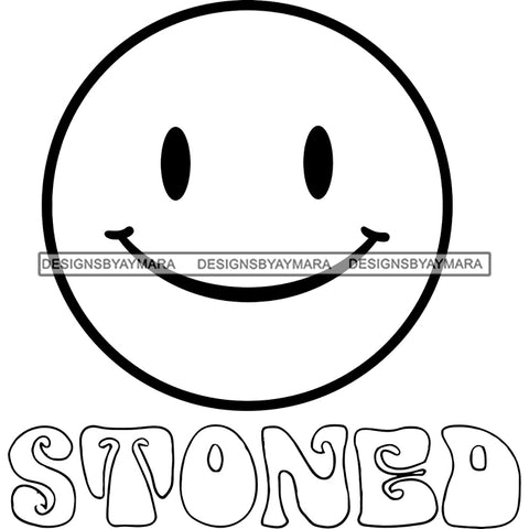 Emoji Face Happy Smiling Cannabis Marijuana Weed High Baked Logo Illustration B/W SVG JPG PNG Vector Clipart Cricut Silhouette Cut Cutting