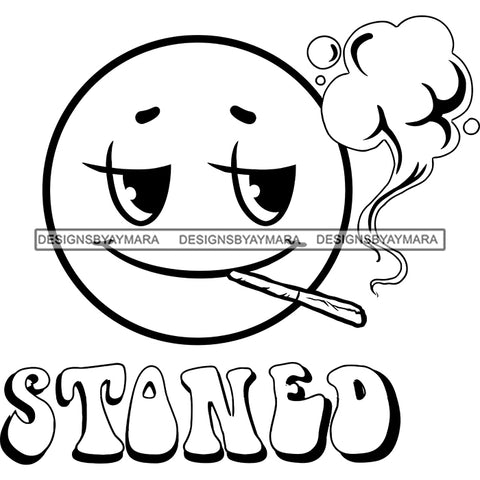 Emoji Face Smoking Cannabis Marijuana Weed High Baked Wasted Logo Illustration B/W SVG JPG PNG Vector Clipart Cricut Silhouette Cut Cutting