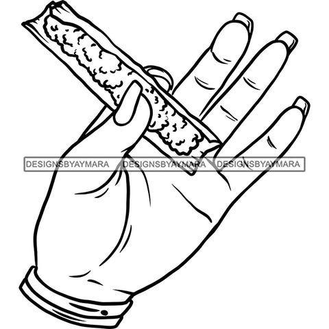 Woman Hand Holding Blunt Joint Blaze High Life 420 Smoke Medical Marijuana B/W SVG JPG PNG Vector Clipart Cricut Silhouette Cut Cutting