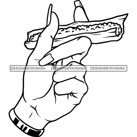 Woman Hand Holding Blunt Spliff Blaze High Life 420 Smoke Recreational Marijuana B/W SVG JPG PNG Vector Clipart Cricut Silhouette Cut Cutting