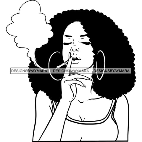 Sexy Afro Woman Smoking Marijuana Bamboo Hoop Earrings Puffy Afro Hairstyle B/W SVG JPG PNG Vector Clipart Cricut Silhouette Cut Cutting