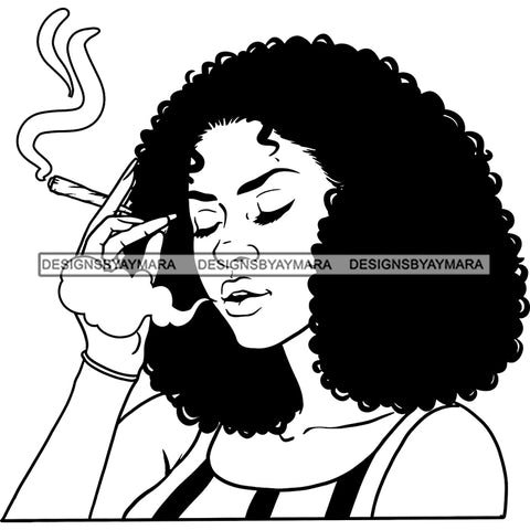 Sexy Afro Woman Smoking Marijuana Cannabis Weed Hemp Puffy Afro Hairstyle B/W SVG JPG PNG Vector Clipart Cricut Silhouette Cut Cutting