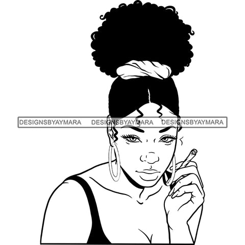 Sexy Afro Woman Smoking Marijuana Hoop Earrings Updo Puffy Afro Hairstyle B/W SVG JPG PNG Vector Clipart Cricut Silhouette Cut Cutting