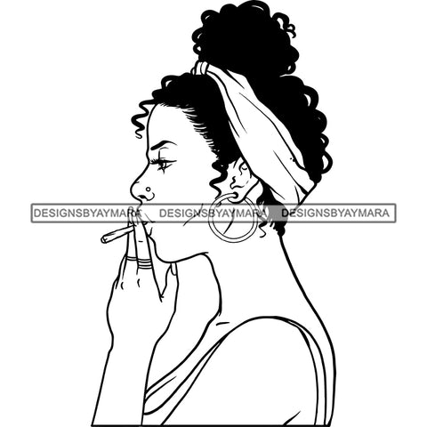 Sexy Afro Woman Profile Smoking Weed Headwrap Updo Puffy Afro Hairstyle B/W SVG JPG PNG Vector Clipart Cricut Silhouette Cut Cutting