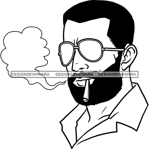 Sexy Afro Man Bearded Sunglasses Smoking Weed Marijuana Grass Short Hairstyle B/W SVG JPG PNG Vector Clipart Cricut Silhouette Cut Cutting