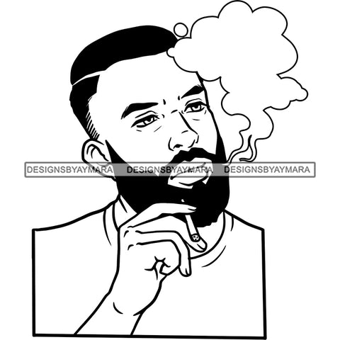 Sexy Afro Man Bearded Smoking Joint Weed Marijuana Grass Short Hairstyle B/W SVG JPG PNG Vector Clipart Cricut Silhouette Cut Cutting
