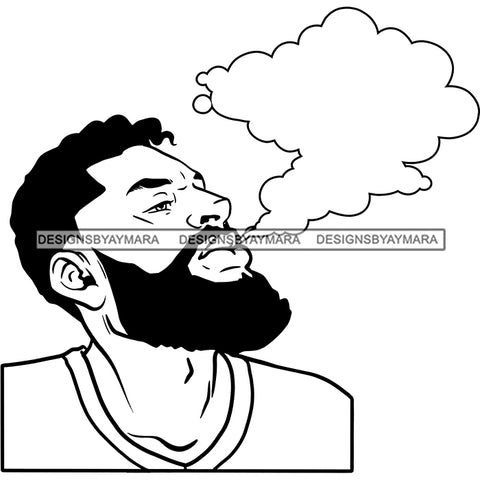 Sexy Afro Man Bearded Smoking Blunt Weed Marijuana Grass Short Hairstyle B/W SVG JPG PNG Vector Clipart Cricut Silhouette Cut Cutting