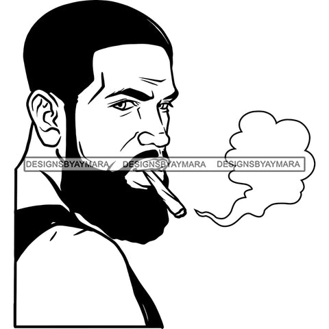 Sexy Afro Man Bearded Smoking Blunt Weed Cannabis Grass 420 Short Hairstyle B/W SVG JPG PNG Vector Clipart Cricut Silhouette Cut Cutting