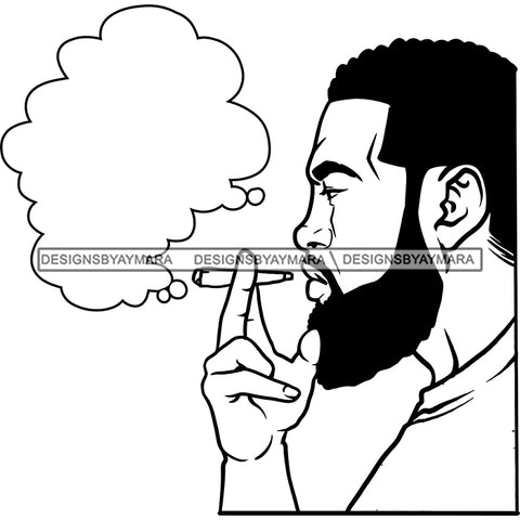 Sexy Afro Man Profile Bearded Smoking Blunt Cannabis Grass 420 Short Hairstyle B/W SVG JPG PNG Vector Clipart Cricut Silhouette Cut Cutting
