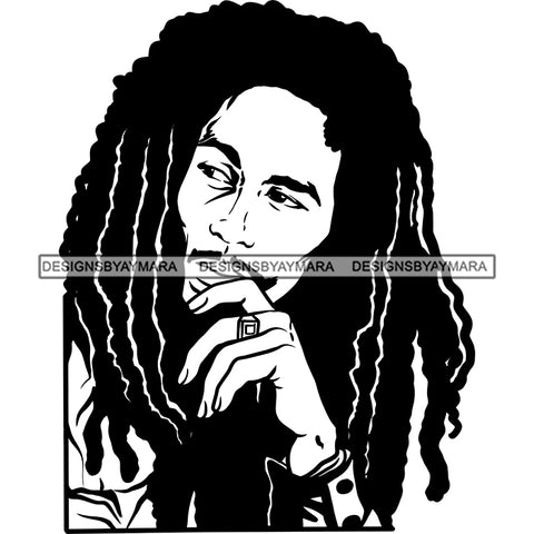 Rastafarian Dreadlocks Cannabis 420 Weed Marijuana Music Jamaican Culture B/W SVG JPG PNG Vector Clipart Cricut Silhouette Cut Cutting