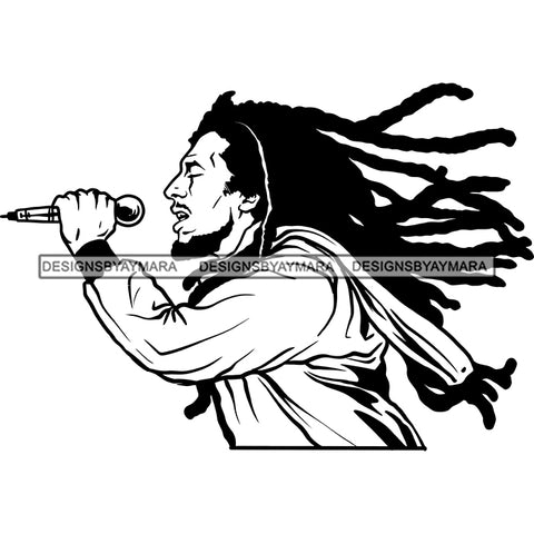 Rastafarian Dreadlocks Cannabis 420 Hemp Marijuana Music Jamaican Culture B/W SVG JPG PNG Vector Clipart Cricut Silhouette Cut Cutting