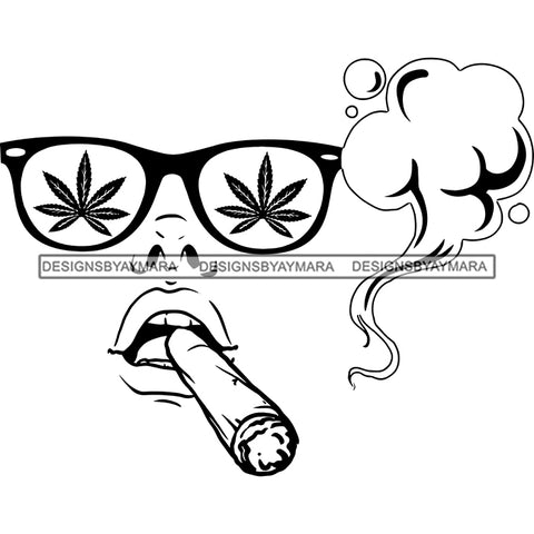 Transparent Woman Face Marijuana Leaves Sunglasses Smoking Joint Doobie B/W SVG JPG PNG Vector Clipart Cricut Silhouette Cut Cutting