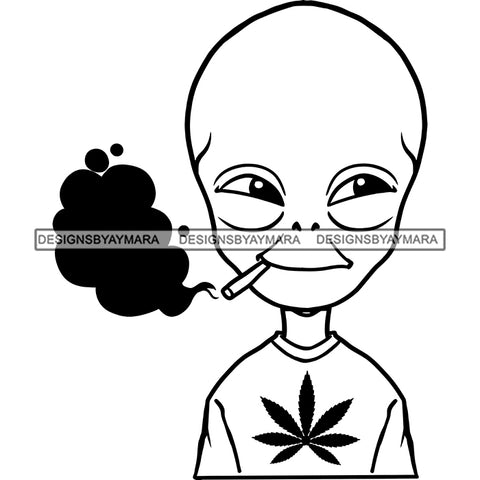 Alien Extraterrestrial Wearing Marijuana Leaf T-shirt Smoking Joint Weed Grass B/W SVG JPG PNG Vector Clipart Cricut Silhouette Cut Cutting