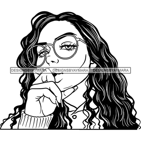 Sexy Afro Woman Glasses Joint Marijuana Weed Cannabis Long Wavy Hairstyle B/W SVG JPG PNG Vector Clipart Cricut Silhouette Cut Cutting