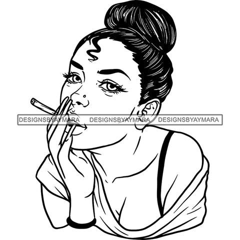 Sexy Afro Woman Smoking Joint Marijuana Weed Grass Cannabis Updo Hairstyle B/W SVG JPG PNG Vector Clipart Cricut Silhouette Cut Cutting