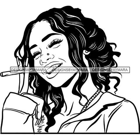 Sexy Afro Woman Smiling Smoking Joint Weed Grass Cannabis Wavy Hairstyle B/W SVG JPG PNG Vector Clipart Cricut Silhouette Cut Cutting