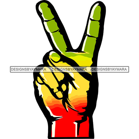 Rasta Rastafarian Man Hand Peace Sign Marijuana Cannabis Weed Recreational Drug SVG JPG PNG Vector Clipart Cricut Silhouette Cut Cutting