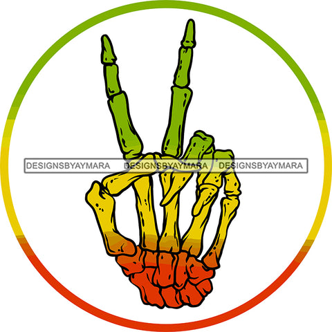 Rasta Rastafarian Human Skeleton Hand Peace Sign Marijuana Recreational Drug SVG JPG PNG Vector Clipart Cricut Silhouette Cut Cutting