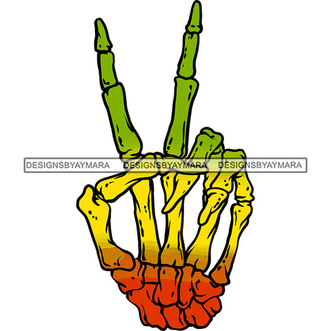Rasta Rastafarian Human Skeleton Hand Peace Sign Marijuana Medicinal Drug SVG JPG PNG Vector Clipart Cricut Silhouette Cut Cutting
