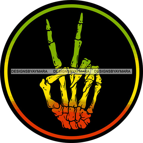 Rasta Rastafarian Human Skeleton Hand Peace Sign Marijuana Cannabis Weed SVG JPG PNG Vector Clipart Cricut Silhouette Cut Cutting