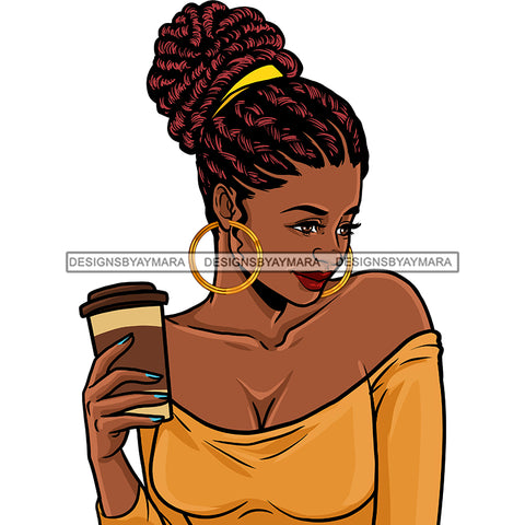 Black Queen Locs Sister Locs In Gold Holding Coffee JPG PNG  Clipart Cricut Silhouette Cut Cutting