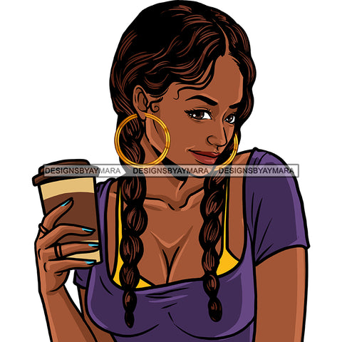 Black Diva Braids  Holding Coffee JPG PNG  Clipart Cricut Silhouette Cut Cutting