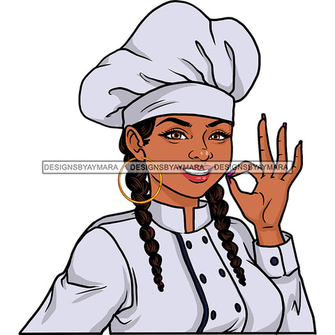 Woman Chef With Braids JPG PNG  Clipart Cricut Silhouette Cut Cutting