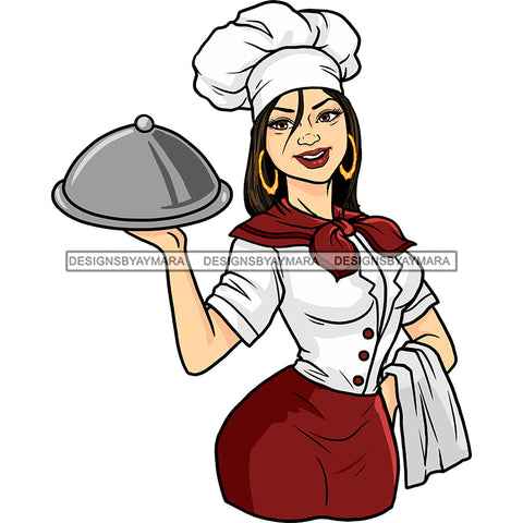 White Woman Chef Serving JPG PNG  Clipart Cricut Silhouette Cut Cutting