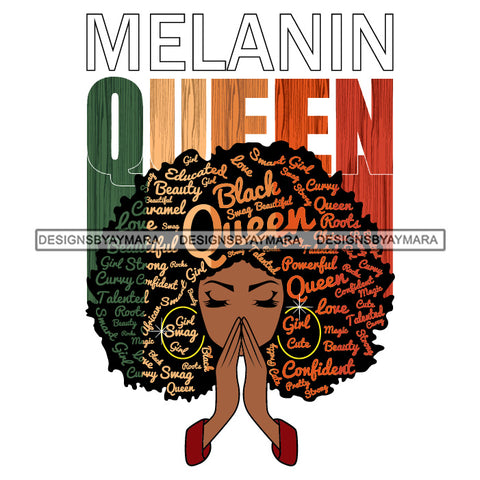 Afro Woman Praying Melanin Queen SVG Layered Files For Silhouette Cricut And More!