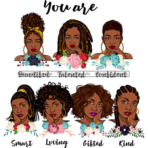 Afro Women Together You Are Confident Talented Life Quotes Divas Flowers White Background SVG JPG PNG Vector Clipart Cricut Silhouette Cut