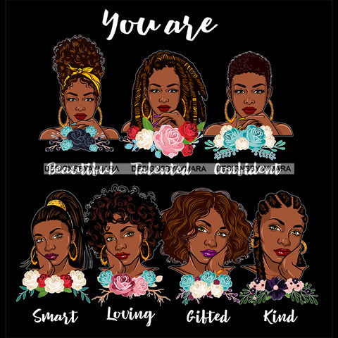 Afro Women Together You Are Confident Talented Life Quotes Divas Flowers Dark Background SVG JPG PNG Vector Clipart Cricut Silhouette Cut
