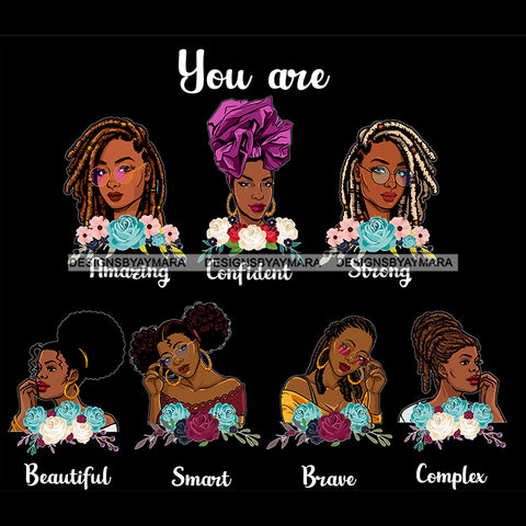 Afro Women Together You Are Strong Brave Life Quotes Divas Dark Background SVG JPG PNG Vector Clipart Cricut Silhouette Cut