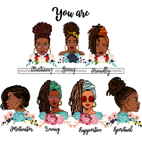 Afro Women Together You Are Friendly Spiritual Life Quotes Divas White Background SVG JPG PNG Vector Clipart Cricut Silhouette Cut
