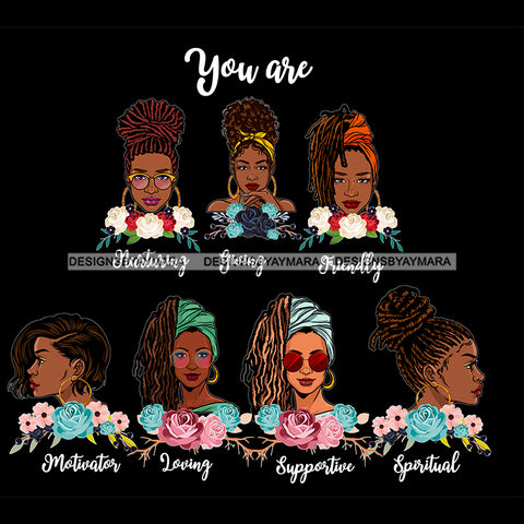 Afro Women Together You Are Friendly Spiritual Life Quotes Divas Dark Background SVG JPG PNG Vector Clipart Cricut Silhouette Cut
