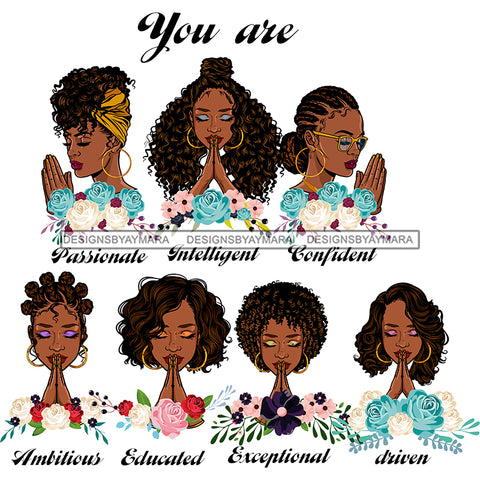 Afro Women Together You Are Passionate Confident Life Quotes Divas White Background SVG JPG PNG Vector Clipart Cricut Silhouette Cut