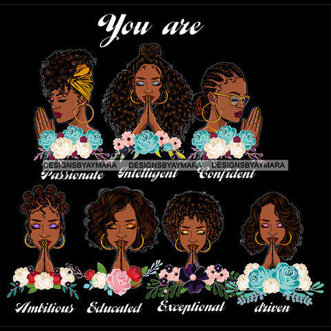 Afro Women Together You Are Passionate Confident Life Quotes Divas Dark Background SVG JPG PNG Vector Clipart Cricut Silhouette Cut