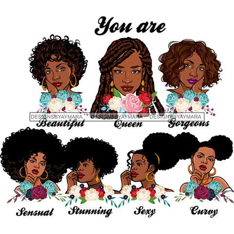 Afro Women Together You Are Sexy Curvy Life Quotes Divas Flowers White Background SVG JPG PNG Vector Clipart Cricut Silhouette Cut