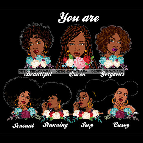 Afro Women Together You Are Sexy Curvy Life Quotes Divas Flowers Dark Background SVG JPG PNG Vector Clipart Cricut Silhouette Cut