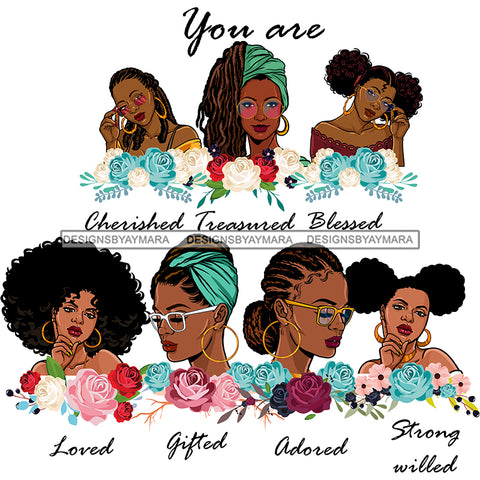 Afro Women Together You Are Gifted Adored Life Quotes Divas Flowers White Background SVG JPG PNG Vector Clipart Cricut Silhouette Cut