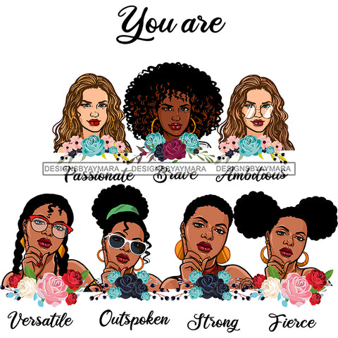 Afro Women Together You Are Outspoken Fierce Life Quotes Divas Flowers White Background SVG JPG PNG Vector Clipart Cricut Silhouette Cut