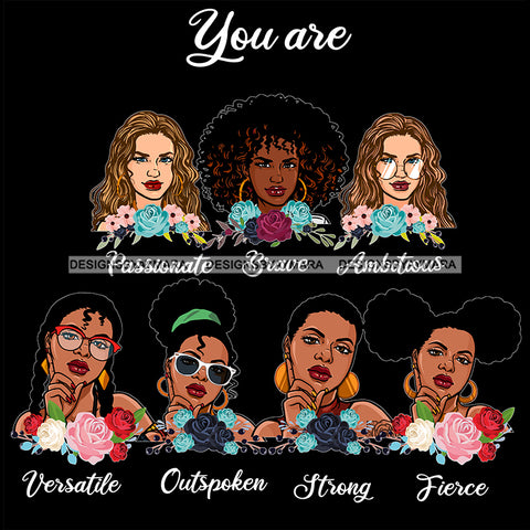 Afro Women Together You Are Outspoken Fierce Life Quotes Divas Flowers Dark Background SVG JPG PNG Vector Clipart Cricut Silhouette Cut
