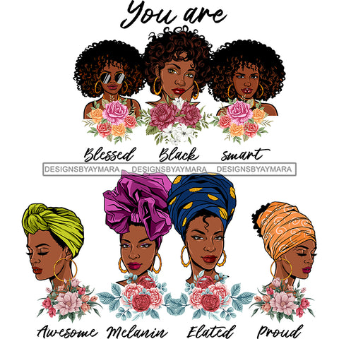 Afro Women Together You Are Smart Proud Life Quotes Divas Flowers White Background SVG JPG PNG Vector Clipart Cricut Silhouette Cut