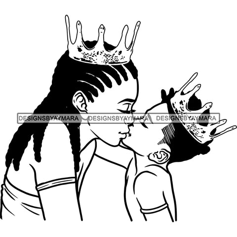 Happy Mother's Day Pretty Crowned Mom Kissing Crowned Son Happy Family B/W SVG JPG PNG Vector Clipart Cricut Silhouette Cut Cutting