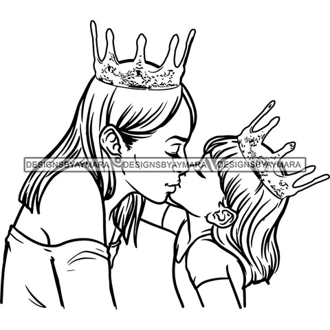 Happy Mother's Day Pretty Crowned Mom Kissing Daughter Parenthood True Love B/W SVG JPG PNG Vector Clipart Cricut Silhouette Cut Cutting